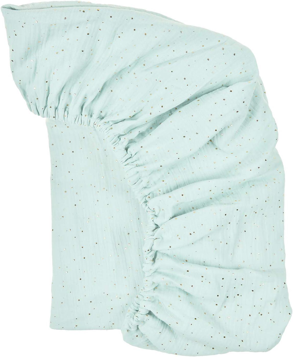 KraftKids Drap housse mousseline /à pois dor/és sur vert en 100 /% coton Fabriqu/é /à la main dans lUE. Dimensions 140 x 70 cm