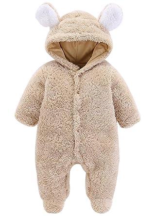 ef776b3e4b37 Amazon.com  UNIQUEONE Baby Boys Girls Hooded Romper Warm Fleece ...