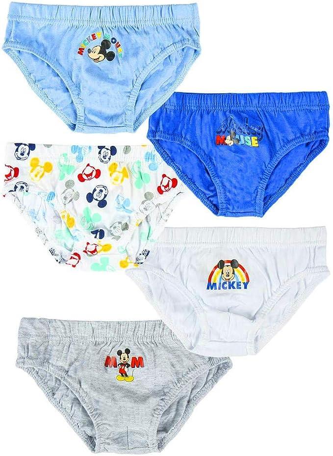 Braguitas para niño de Mickey Mouse, 100% algodón suave, pack de 5 ...