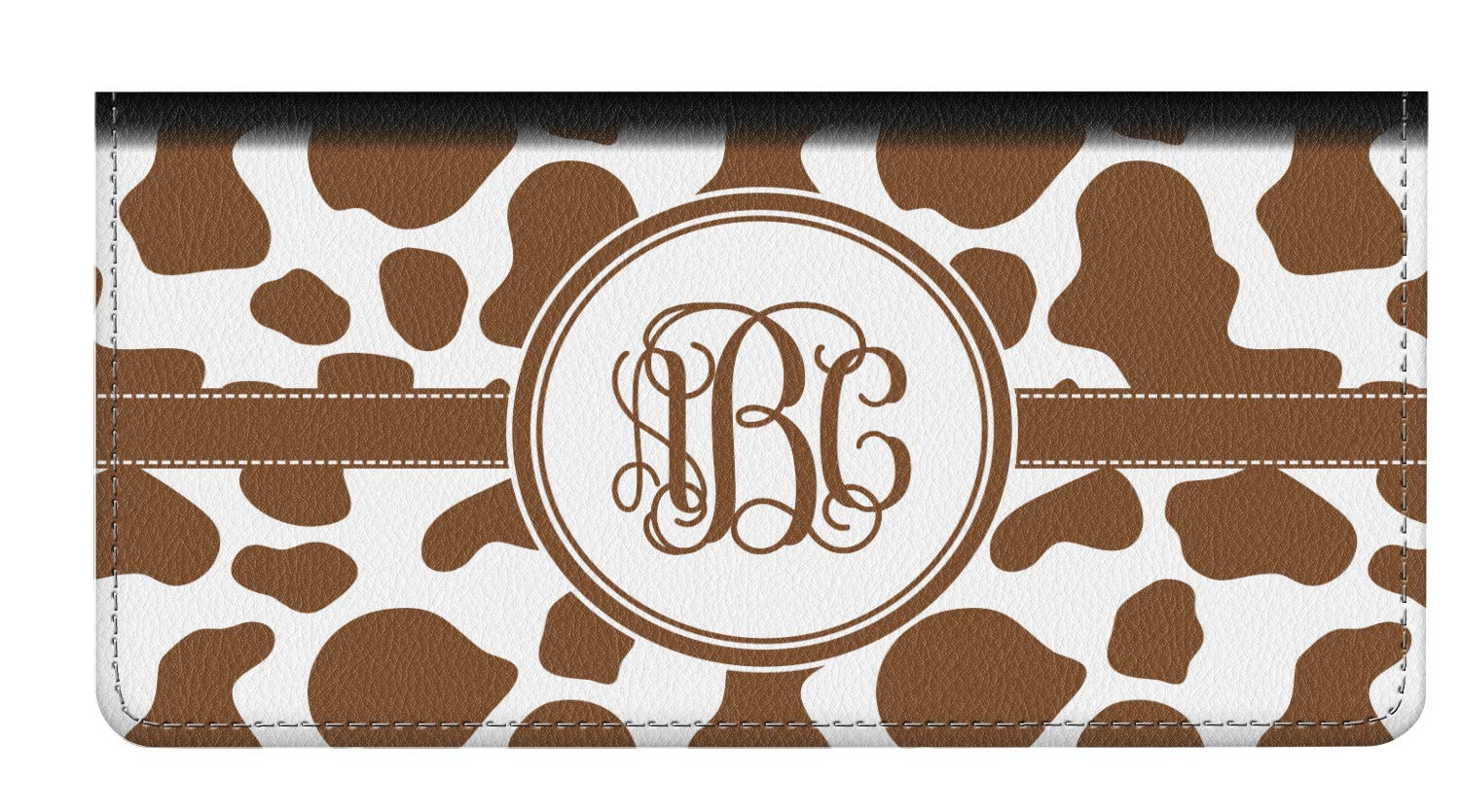 Cow Print Genuine Leather Checkbook Cover (Personalized) by YouCustomizeIt