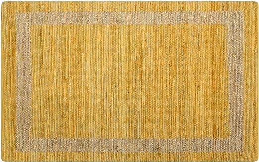 Festnight Alfombra de Yute Rectangular 160 x 230 cm Amarillo y Natural Alfombra Tejida a Mano de Yute Trenzado y Algodón: Amazon.es: Hogar