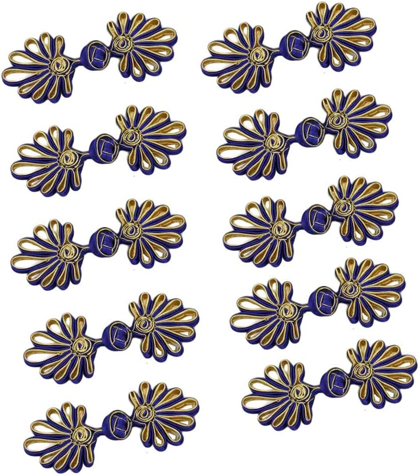 6 pairs black Chinese frog buttons with beads fasteners knot Closures Cheongsam