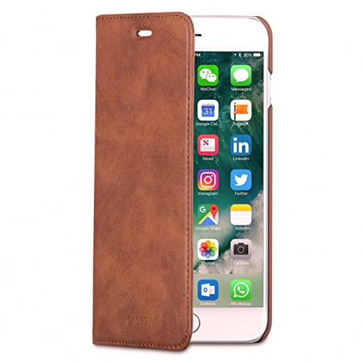 43 opinioni per Cover iPhone 8 Plus / Cover iPhone 7 Plus Marrone Similpelle a Libro CASEZA-
