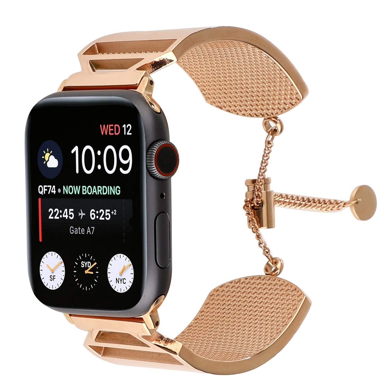 Juzzhou Replacement for Watch Band Apple Watch iWatch Series 1 2 3 4 Edition Stainless Steel Wriststrap Wristband Bracelet Wrist Strap with Metal Adapter Clasp Woman Girl Lady Boy Rose Gold 38mm 40mm