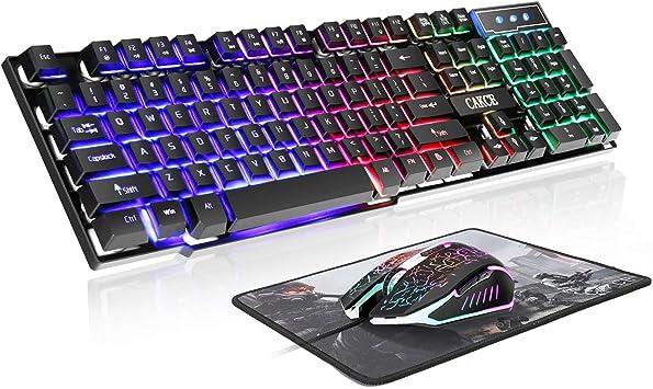 Gaming Keyboard LED Backlight Mechanical USB Ergonomic Wired PC Keyboard Mouse