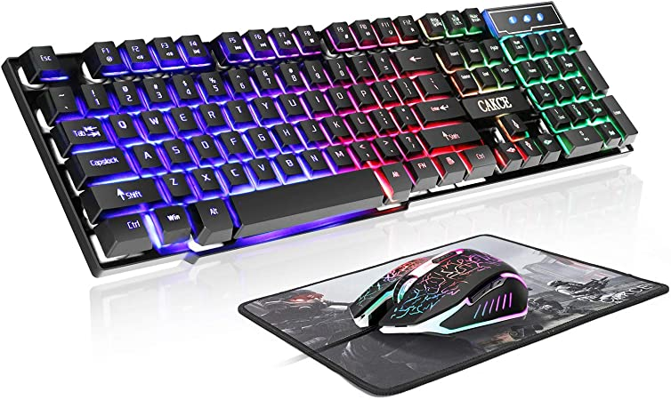 Wireless Keyboard and Mouse Combo Mechanical Feeling Wired Keyboard and Mouse Breathing LED Lights Non-Slip 3D Scroll Gaming Keyboard Mouse Set Black