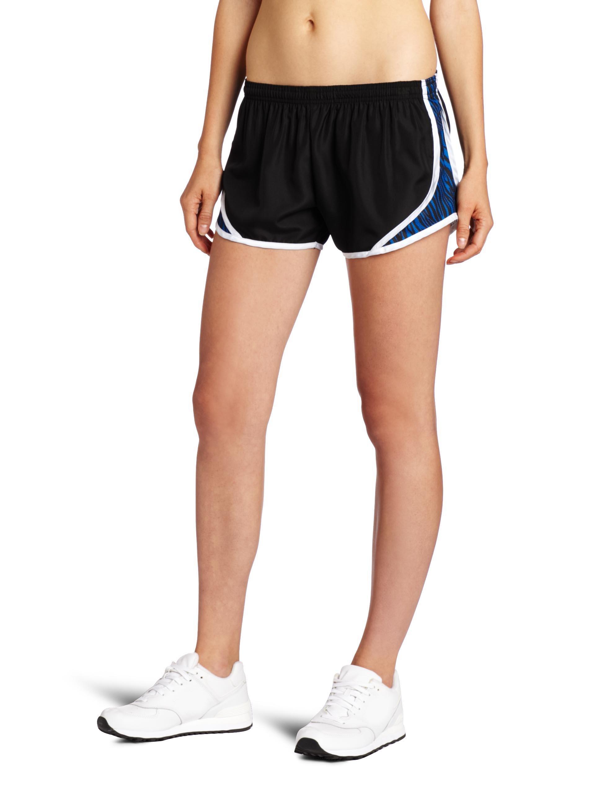 Soffe MJ Teen-girlswomen's Juniors' Team Shorty Shorts, Black/Electric Blue Zebra, Medium by Soffe