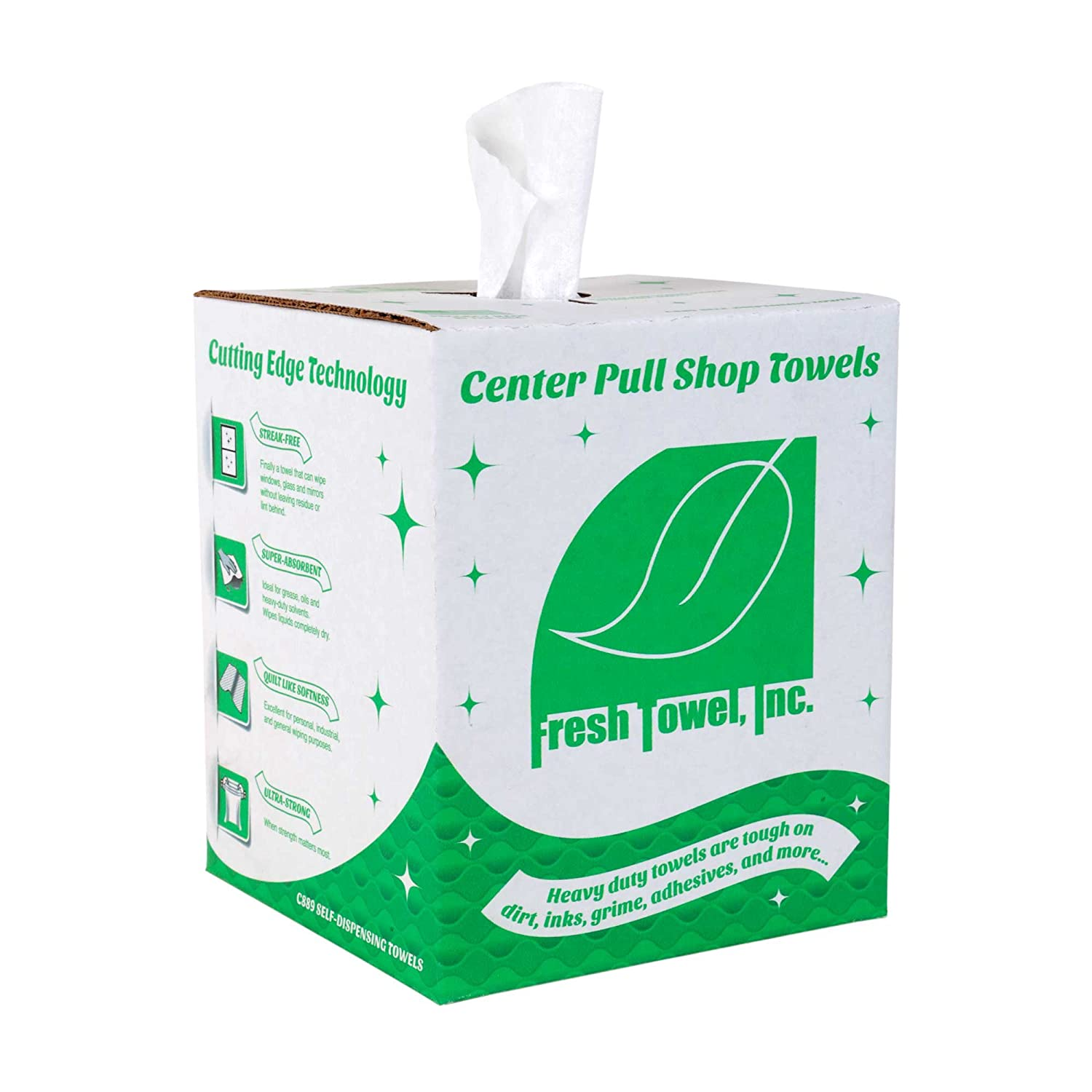 Fresh Towel Ultra Strong Center Pull Shop Towels - (1 Box of 300) Disposable Cleaning Towels - White, 9 x 12 inches - FT500