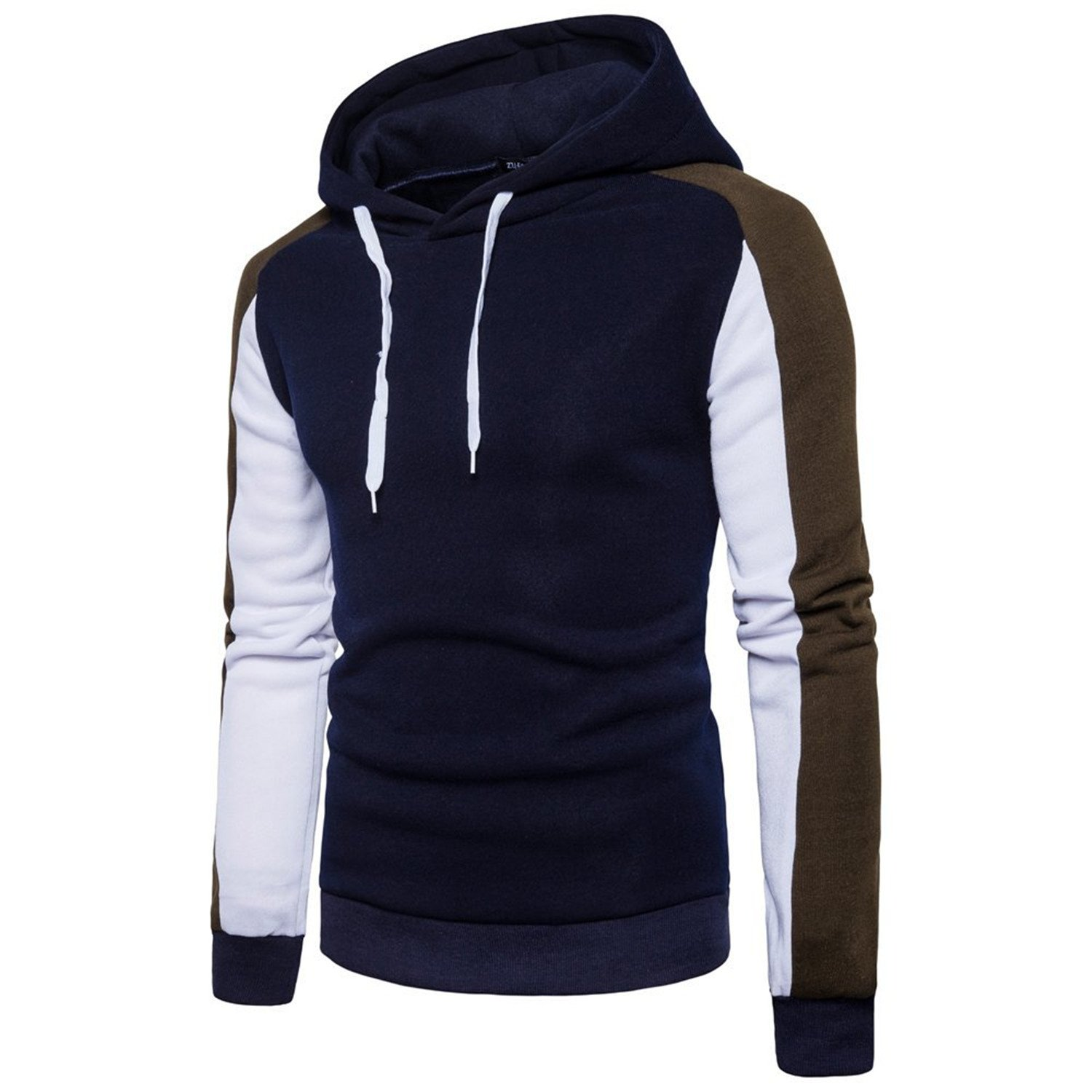 Kaured Comfortable Mens Contrast Color Fleece Hooded Sweater Pullover Hoodie