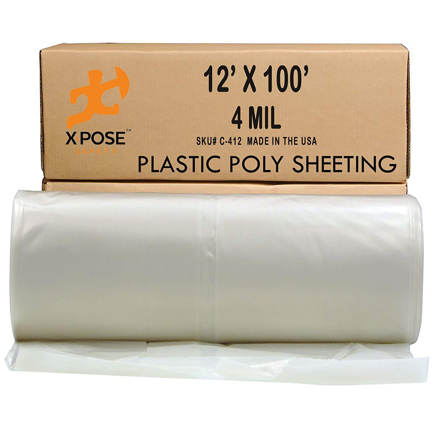 Clear Poly Sheeting - 12x100 Feet – Heavy Duty, 4 Mil Thick Plastic Tarp – Waterproof Vapor and Dust Protective Equipment Cover - Agricultural, Construction and Industrial Use - by Xpose Safety