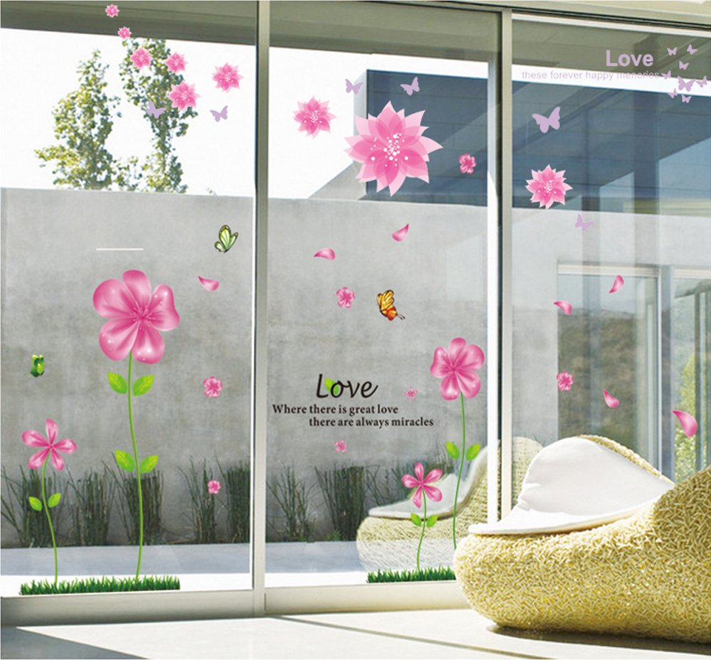 b gtago lovely pink petal flowers butterflies wallpaper for b gtago lovely pink petal flowers butterflies wallpaper for living room bedroom removable home wall decals wall stickers murals wall decor wallpops