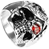 Size 8-13 Gothic Skull Men's Stainless Steel Ring Silver Red Black