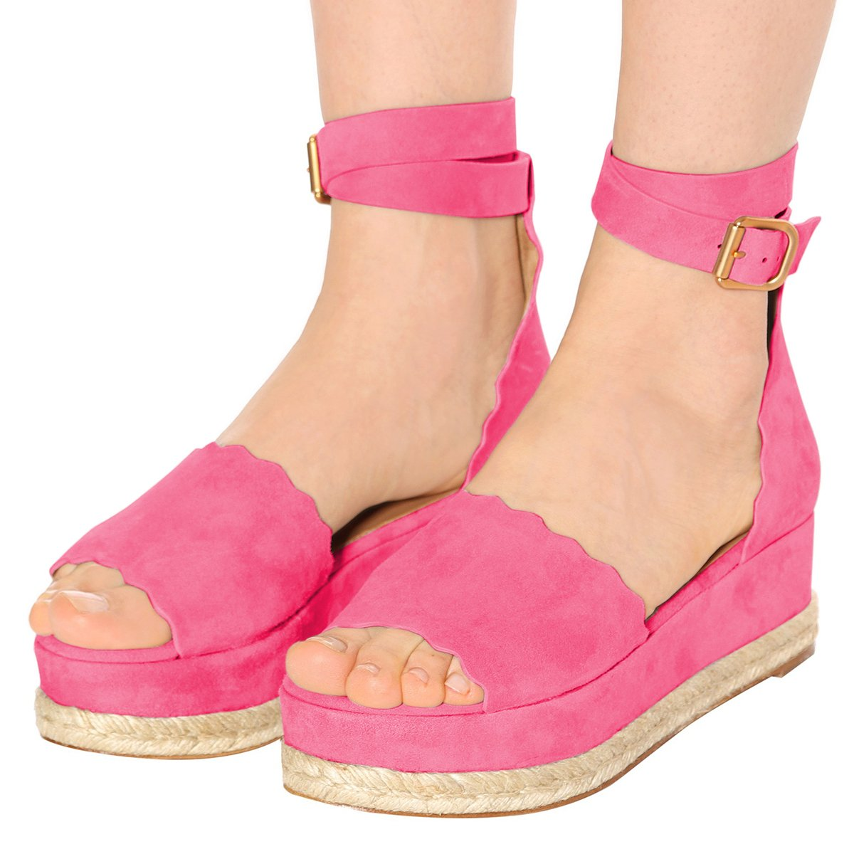 YDN Women Espadrille Peep Toe Ankle Straps Wedge Sandals Low Heels Platform Shoes with Buckle B07DCNG86T 8.5 M US|Rossy