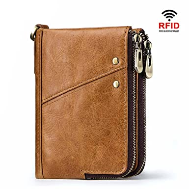 80379d173817 Genuine Leather Bifold Wallet for Men, Double Zipper Pocket Design, RFID  Blocking with Gift Box