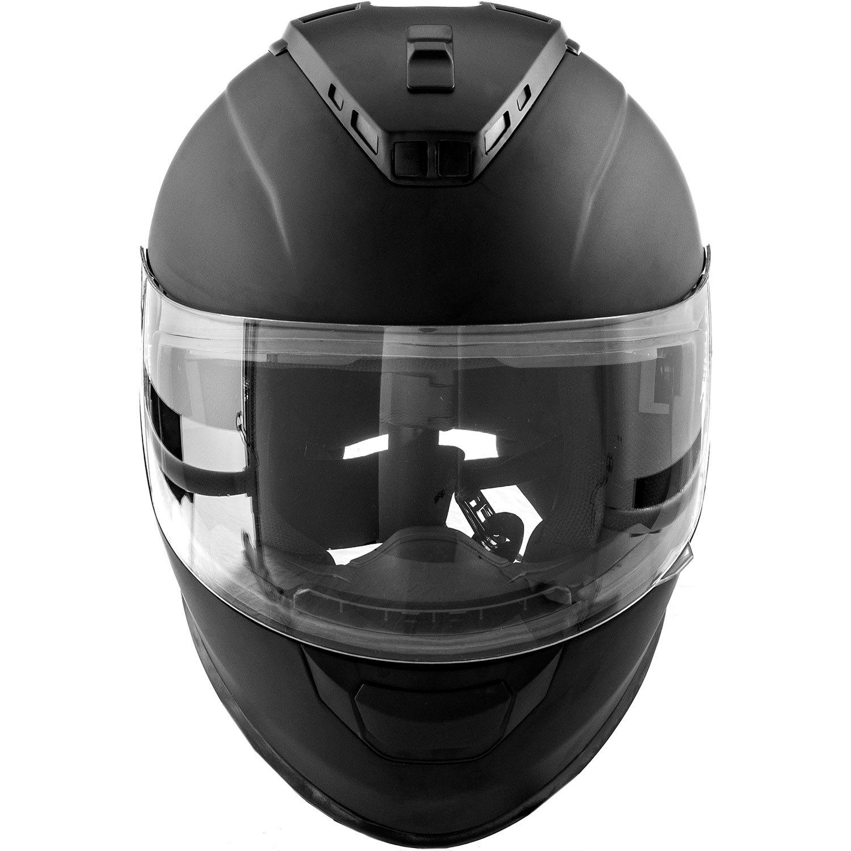 Adult X-Large DOT Motorcycle Helmet Full Face KOI Matte Black w//Clear Visor