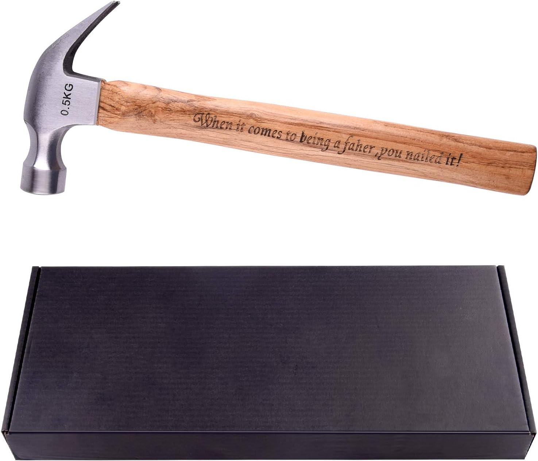 TUPARKA Regalo del d/ía del padre martillo de talla personalizada regalo especial talla mango de madera pap/á con martillo de acero