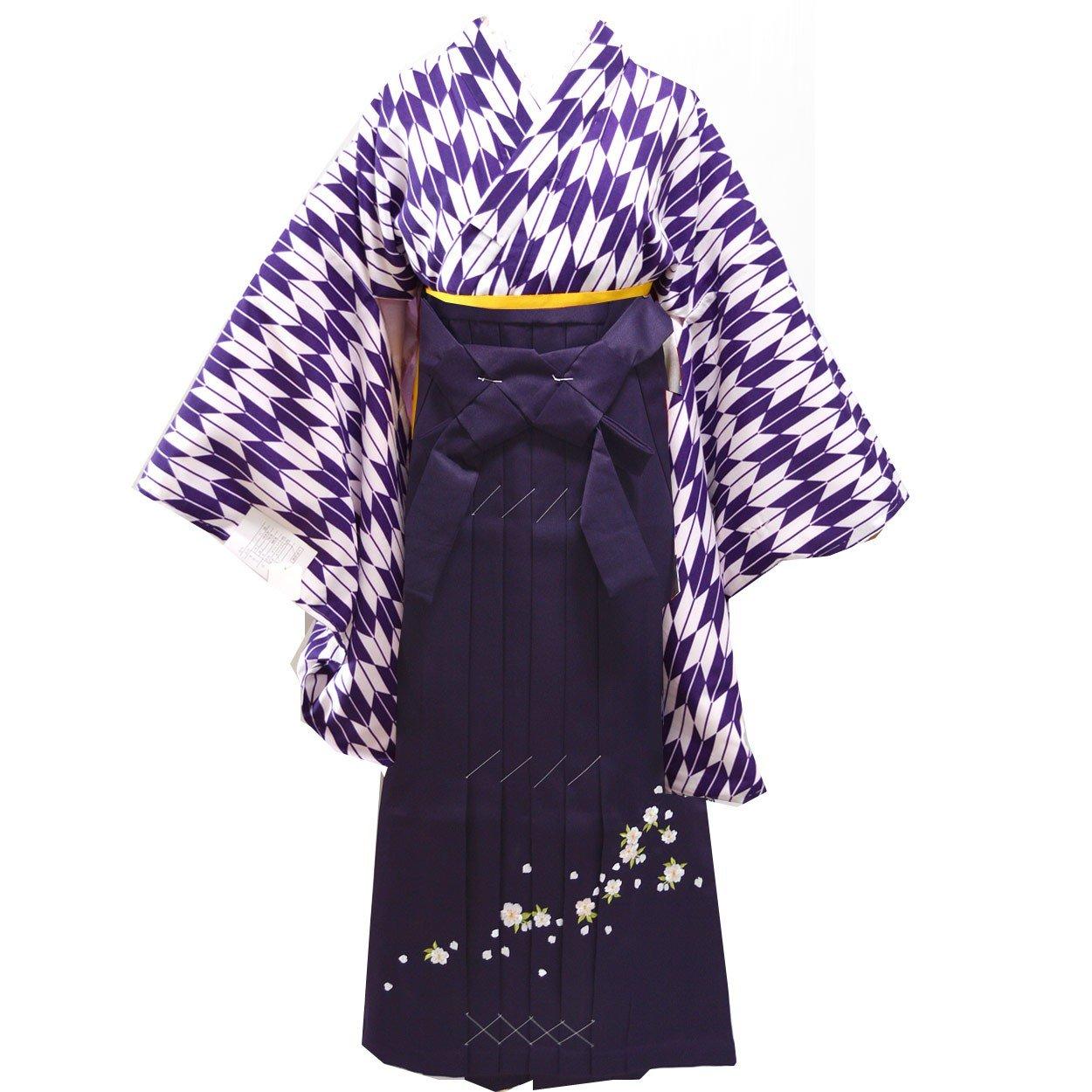 卒業式 袴セット 女性レディース二尺袖着物刺繍袴セット 5サイズ6色/ B00APG1HRO L(95cm)|パープル パープル L(95cm)