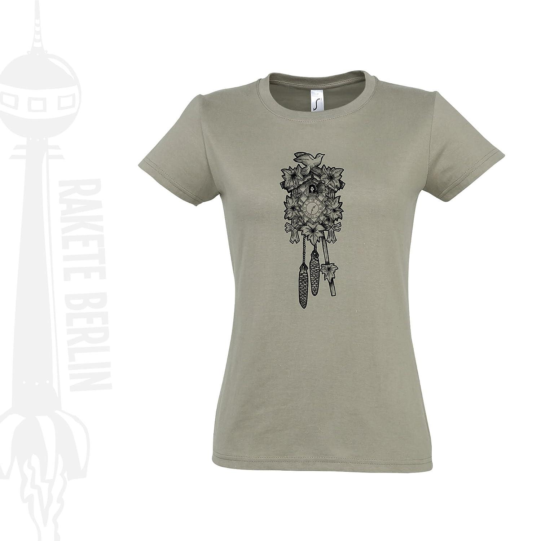 Damen T-Shirt 'Kuckucksuhr gezeichnet' Baumwolle