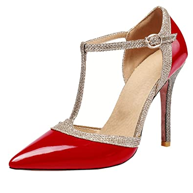 Stiletto High Party T Damen Heels Elegante Spange Spitz Pumps Uh W2YI9EDH