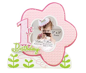 Good Lillian Rose 1st Birthday Picture Frame, Pink, 5.25u0026quot;
