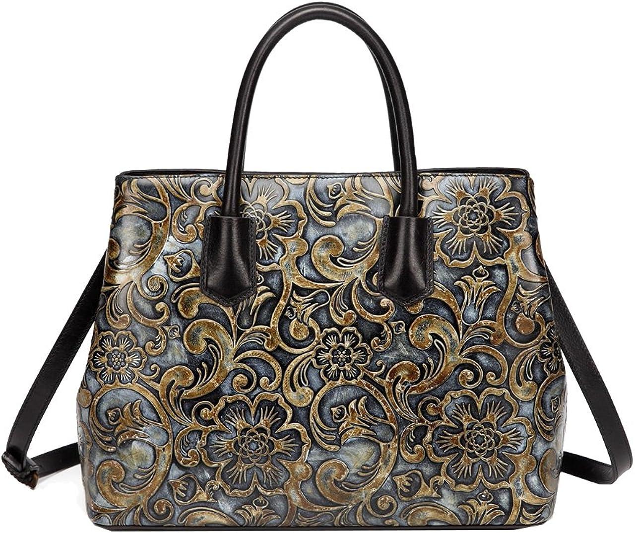 Jair Retro Floral Embossed Genuine Leather Crossbody Tote Bags Handbags for Women