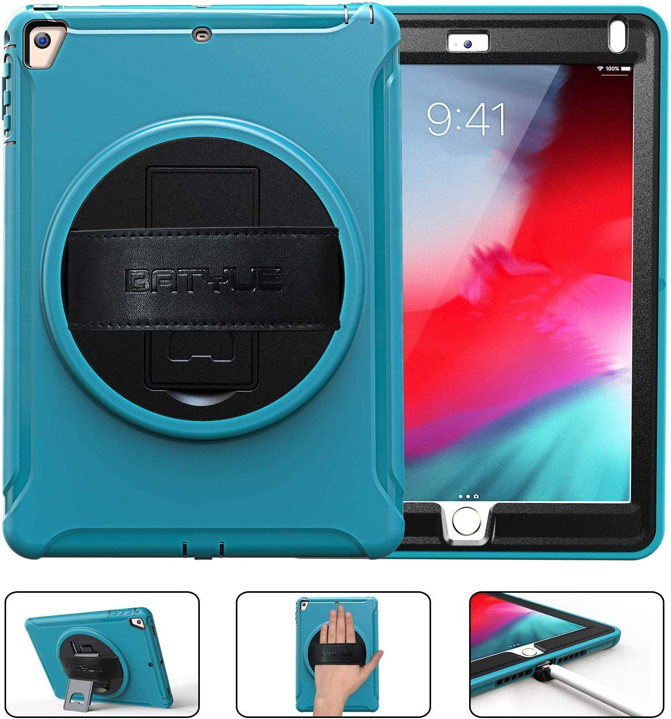 Batyue New iPad 9.7 Inch 2017/2018 Rugged Case with Hybrid Heavy Duty Protection and Built-in Kickstand/Hand Strap for Apple iPad 9.7 iPad 5th/ 6th Generation Case (Light Blue)