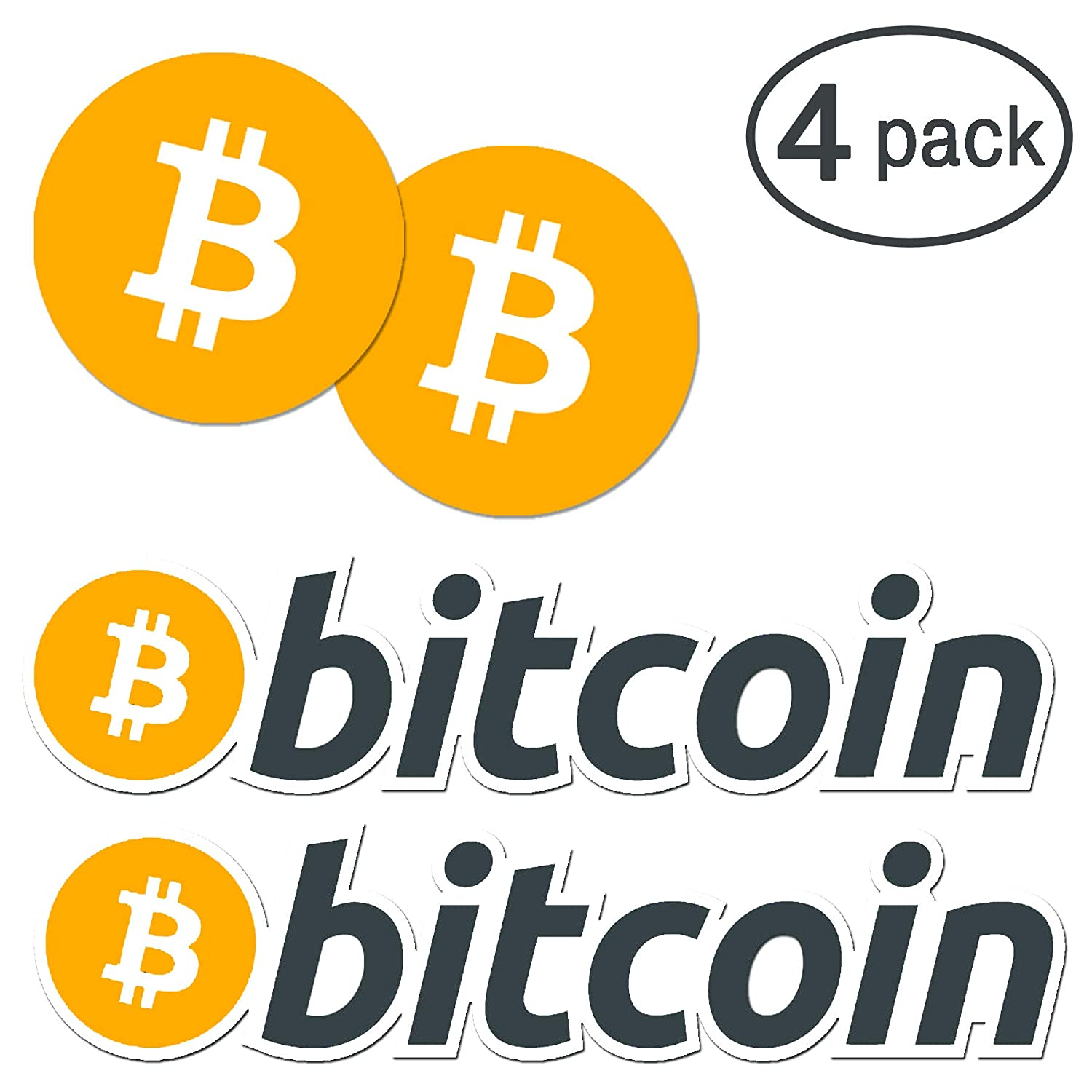 4 pack bitcoin logo vinyl die cut crypto sticker decal set 2 designs bitcoin btc coin decals for laptops notebooks etc for cryptocurrency enthusiasts