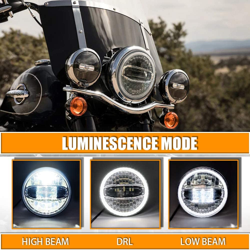 Electra Glide,Ultra Limited Dot Appoved Street Glide Road Glide Galvor Motorcycle 7 Inch LED Headlight with 4.5 Inch Chrome Passing Lights Bracket Motorcycle Kits for Harley Davidson Road King
