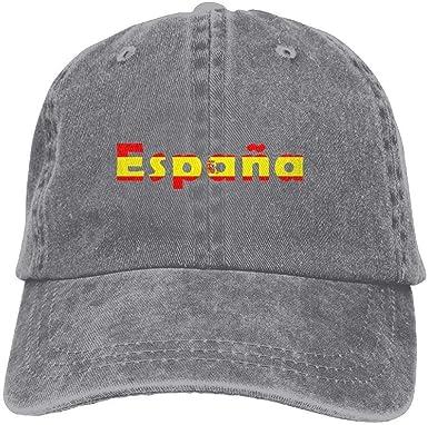 Hoswee Hombres Mujer Gorra Beisbol, Snapback Sombreros Adult Spain Espana Adjustable Denim Cap Baseball Cap: Amazon.es: Ropa y accesorios