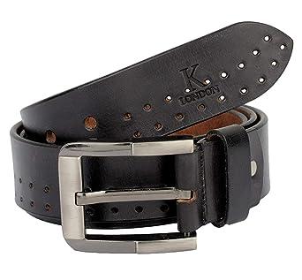 K London Men Casual, Evening, Party Black Genuine Leather Belt  blk_dbl_punch  Belts