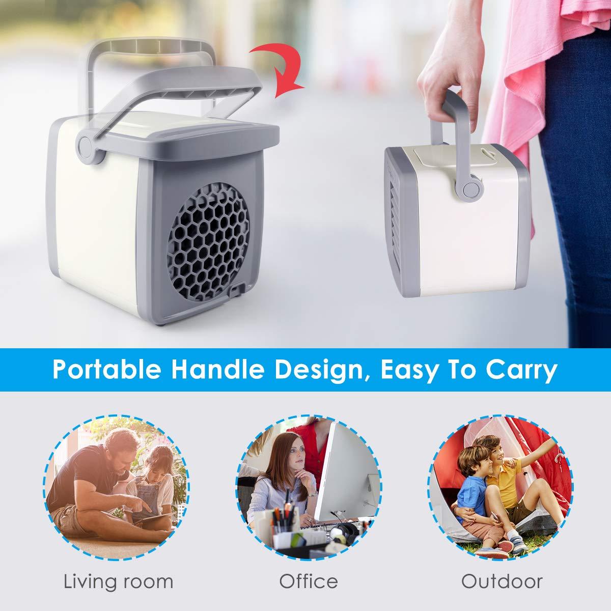 Outdoor Room Air Personal Air Conditoner Small Desktop Fan Quiet Personal Table Fan Mini Evaporative Air Circulator Cooler Humidifier for Office Auka Personal Air Cooler Dorm