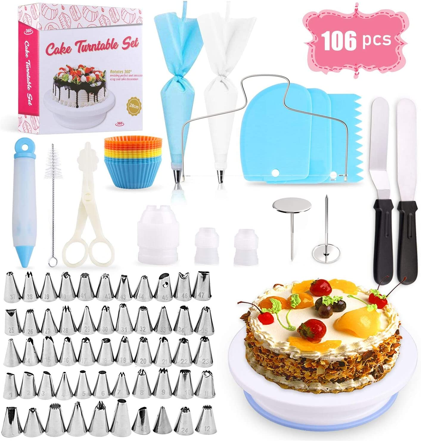 Cake Decorating Equipment, Omew 12pcs Cake Decorating Set Cupcake  Decorating Kit Baking Supplies with Nonslip Turntable Stand, 12 Numbered  Icing Tips