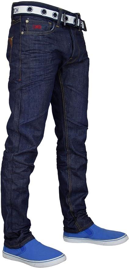 Da Uomo Crosshatch Wak Gamba Dritta Lavaggio Blu Denim Jeans Girovita