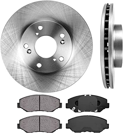 OE Series Rotors + Ceramic Pads Fits: 2013 13 Honda Civic EX//EX-L Models Max Brakes Front /& Rear Premium Brake Kit KT104643