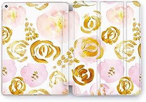 Wonder Wild Painted Flowers Print Case IPad 9.7 2017 A1822 A1823 2018 A1893 A1954 Air 2 A1566 A1567 6th Gen Clear Design Smart Hard Cover Girly Pretty Cute Floral Plastic Painted Petal Golden Peach