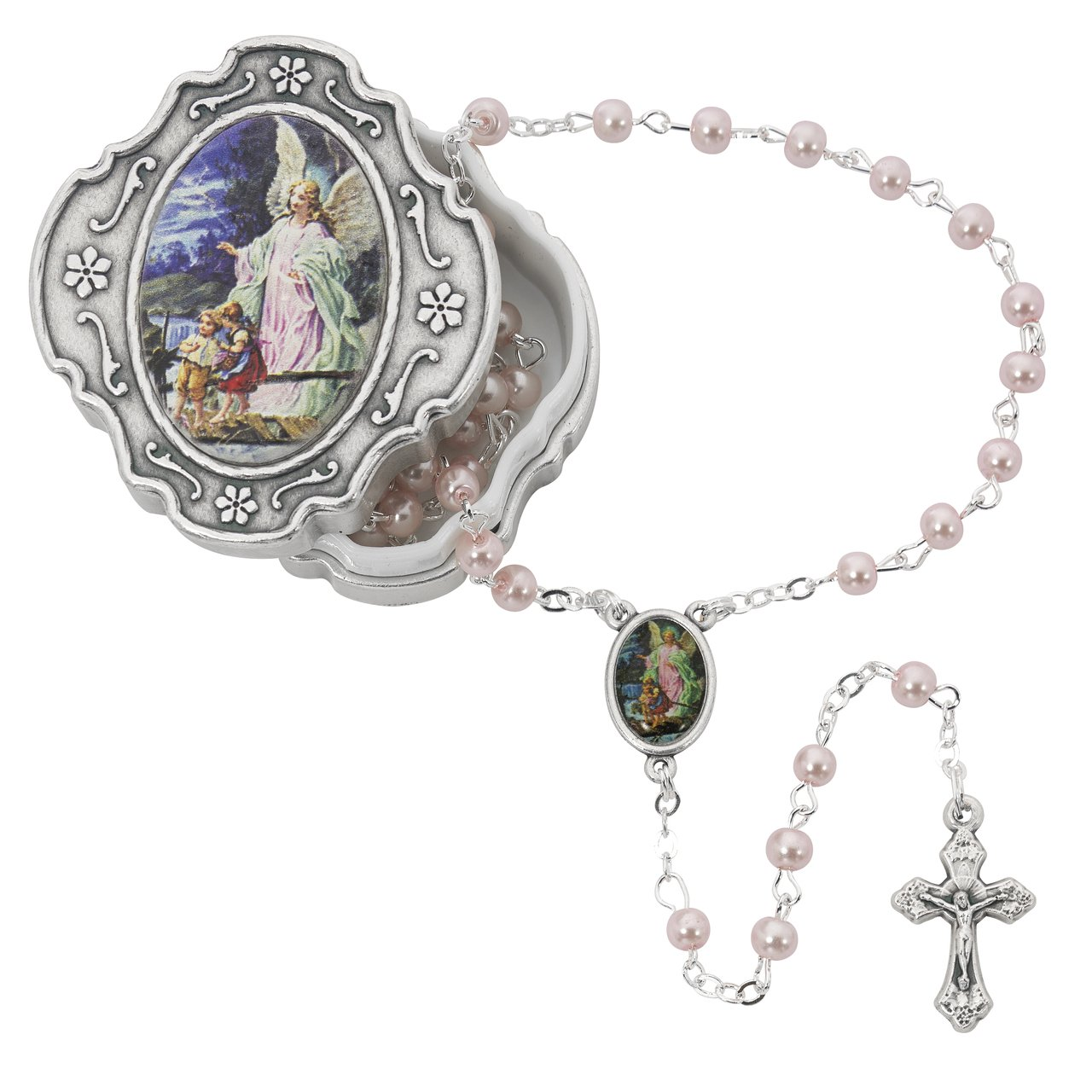 Guardian Angel Pink Rosary with Box Baptism Christening Communion Gift Mcvan