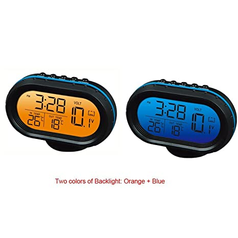 Yosoo 12V Termómetro digital del voltímetro del reloj de alarma del monitor, multifuncional Autometer voltaje del ...