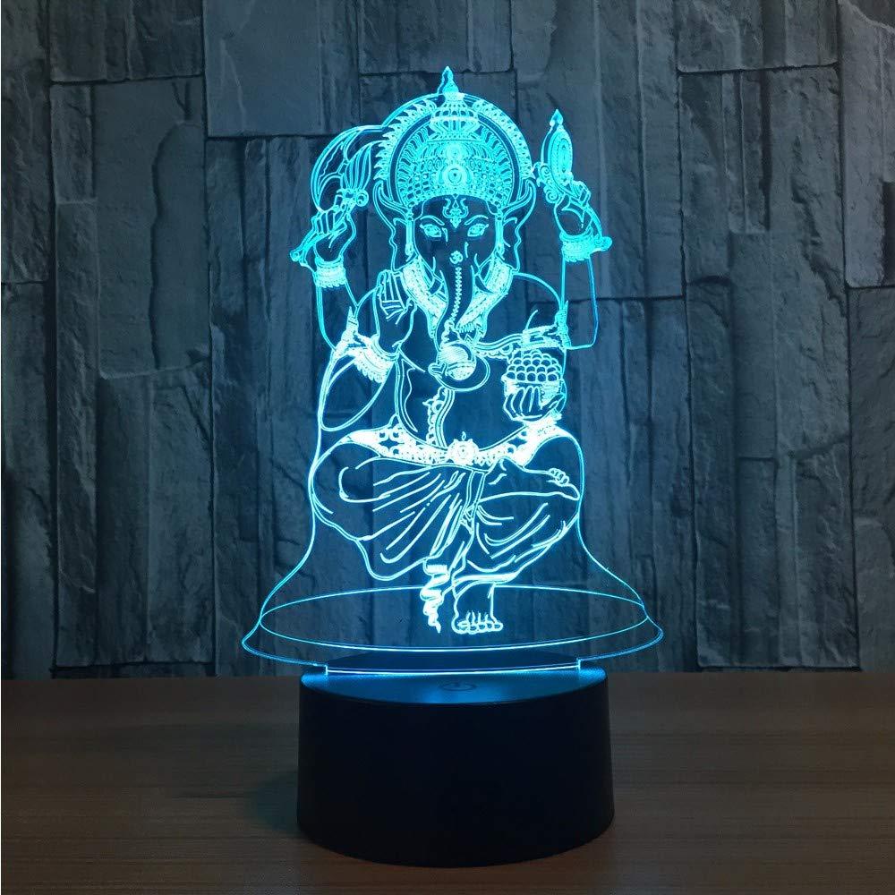 Lifme LED 3D テーブルランプ 象の頭 ゴッドライト ガネーシャ インドア スリーピング ナイトライト カラー ビジュアルテーブル 発光ランプ クリスマスギフト装飾   B07KSZY2MD