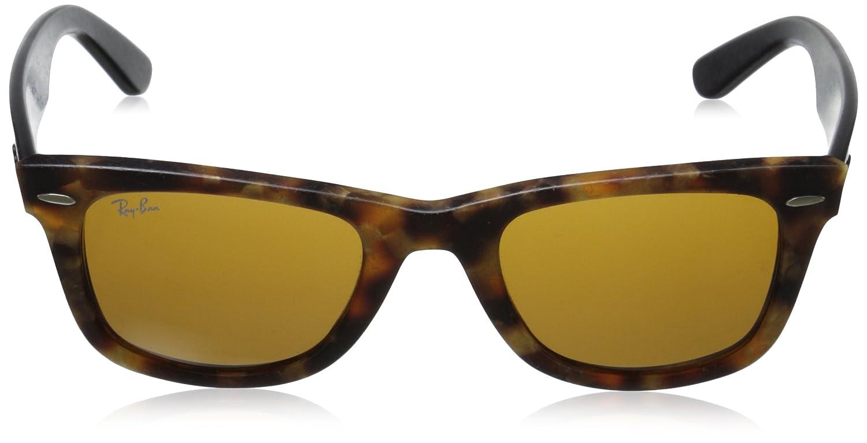 8e8d817bc6 Amazon.com  Ray-Ban Men RB2140 1187 Original Wayfarer Distressed Sunglasses  Black  Brown 50mm  Ray-Ban  Clothing