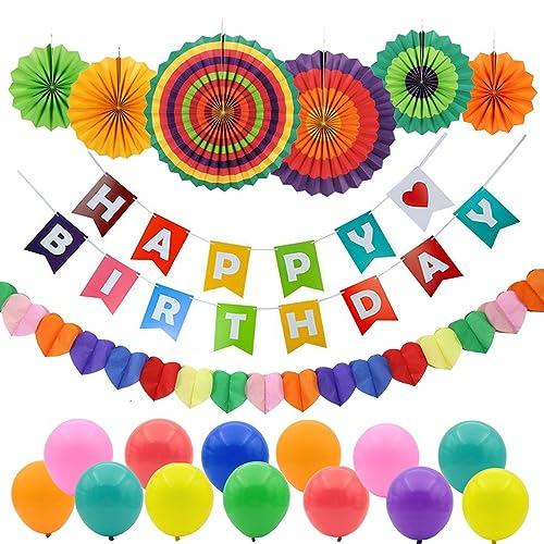 GoFriend Happy Birthday Party Decorations Birthdays Banner Garland 6Pcs Colorful Fiesta Paper Fans