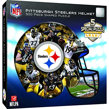 c44eb5b7199 Image Unavailable. Image not available for. Color  MasterPieces NFL  Pittsburgh Steelers 500 Piece Helmet Shaped Puzzle