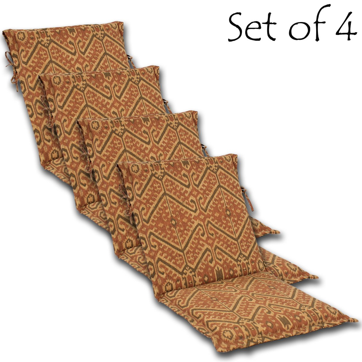 Comfort Classics Inc. Set of 4 Outdoor Mid Back Sling French Edge Border Cushion 36 x 17 x 2 Seat 17 Back 19 Polyester Fabric Stencil Rust