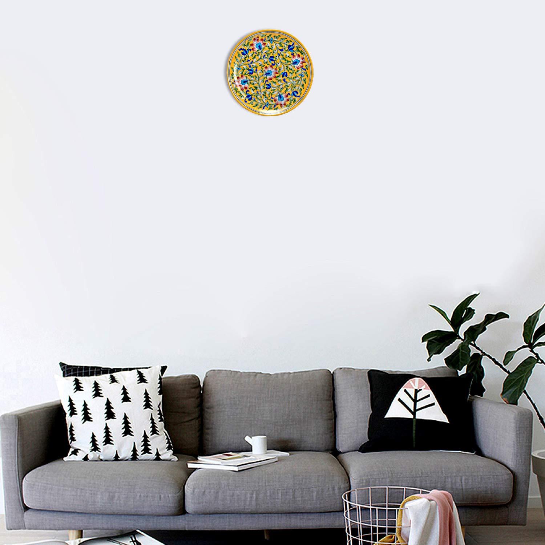 Lalhaveli Handmade Decorative Ceramic Plate Wall Hanging Decor Items 9 x 9 x 2 Inch