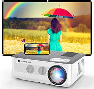 1080P Projector, FANGOR 2021 WiFi Projector Bluetooth Support, 7500L Movie Projector 4K Video Support, Home Projector Compatible with TV Stick, HDMI, USB, VGA, iOS/Android [120''Screen Included]