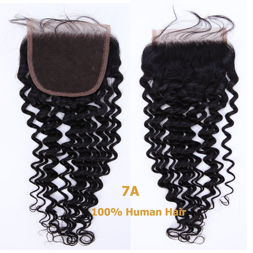 Brazilian Remy Hair 18'' Deep Wave Lace Frontal Closure With Baby Hair Unprocessed Virgin Human Hair Extensions 4x4 Free Part Blenched Knots #1B Natural Black