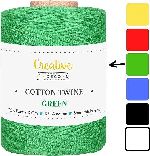 Creative Deco 100m Cuerda Macramé Algodón Verde | 2-3 mm Espesor ...