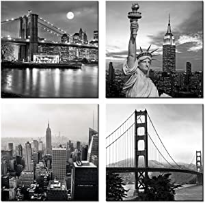 Live Art Decor - Modern Black and White New York Wall Art Brooklyn Bridge Empire State Building Golden Gate Bridge Statue Of Liberty Picture on Canvas Print Painting Wall Decoration Framed