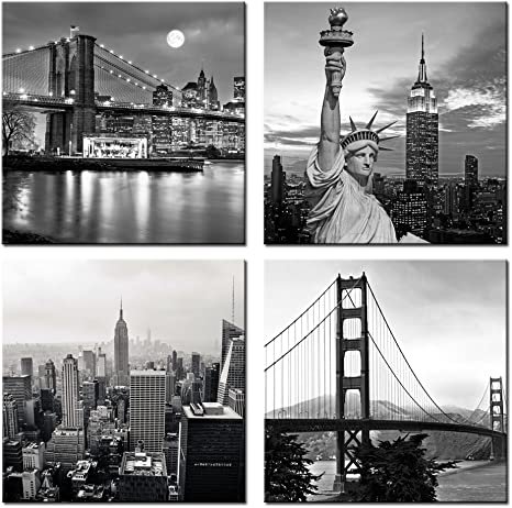 Live Art Decor Modern Black And White New York Wall Art Brooklyn Bridge Empire State Building Golden Gate Bridge Statue Of Liberty Picture On Canvas Print Painting Wall Decoration Framed