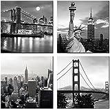 Live Art Decor - Modern Black and White New York Wall Art Brooklyn Bridge Empire State Building Golden Gate Bridge…