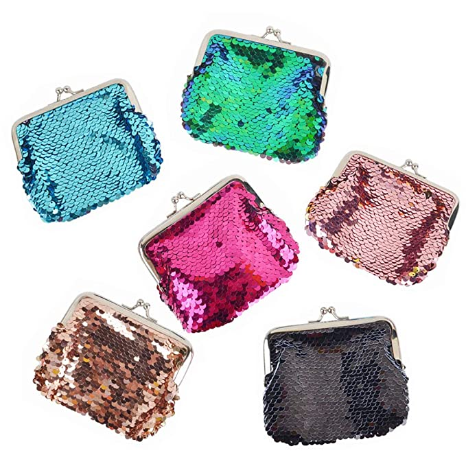Aspire 6PCS Reversible Sequin Double Coin Purses, Assorted ...